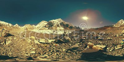 360 V av Everest Base-lägret i Khumbu glacier Khumbu-dalen, nationalparken Sagarmatha, Nepal Himalayas EBC lager videofilmer
