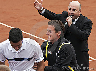 V.Hanescu and A.Pavel cheering at the end of match Editorial Stock Photo