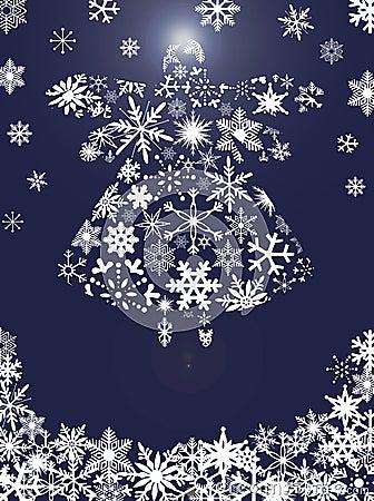 Vôo do anjo do Natal com flocos de neve