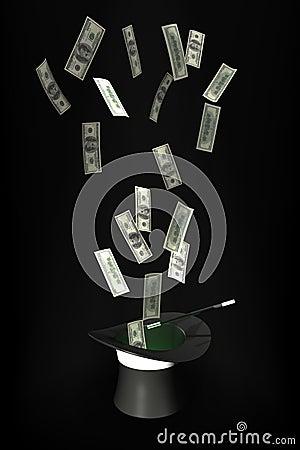 Vôo do dinheiro fora de um chapéu mágico