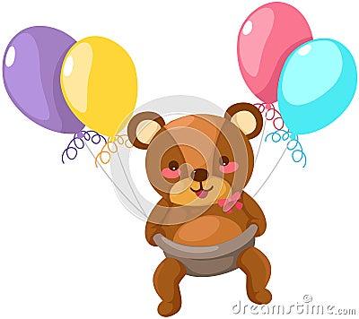 Vôo do urso do bebê com balão