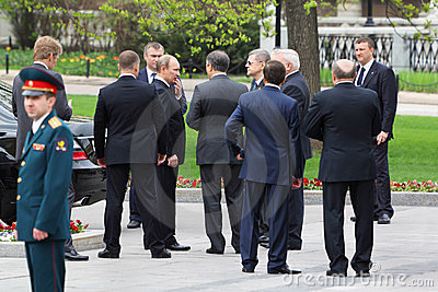 V.Putin, bodyguards and State Duma deputies Editorial Photo