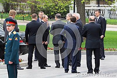 V.Putin, bodyguards and State Duma deputies Editorial Photo