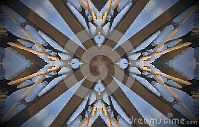V shapes around cross metal structure extruded mandala Stock Photo