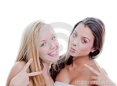 V sign teens