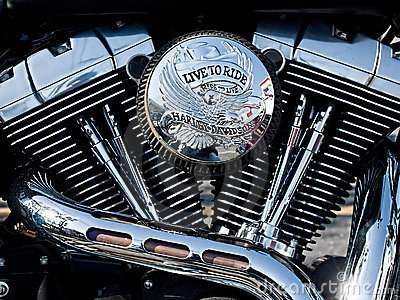 V-twin motorcycle engine Editorial Stock Photo