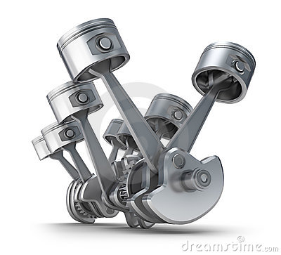 V8 engine pistons