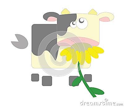 Vaca geométrica en el fondo blanco