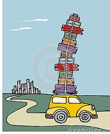 Vacances de bagage de sort chargées par véhicule