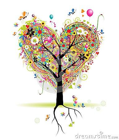 Vacances heureuses, arbre de forme de coeur avec des ballons