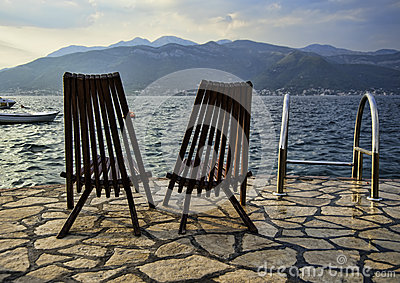 Vacant chairs at the Adriatic beach