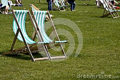 Vacant deck chairs