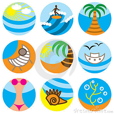 Vacation on beach icons