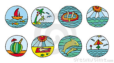 Vacation beach icons