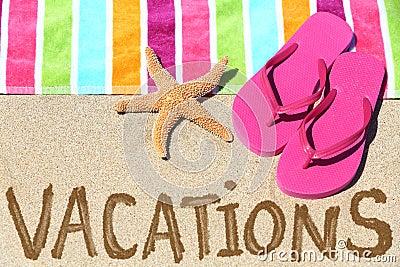 Vacation beach travel text