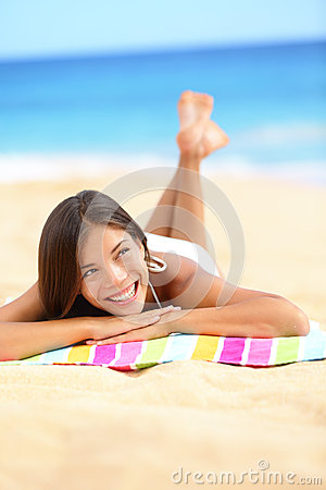 Free Vacation Beach Woman Lying Down Relaxing Looking Stock Image - 28999471