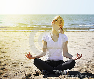 Vacation Beach Woman Meditating
