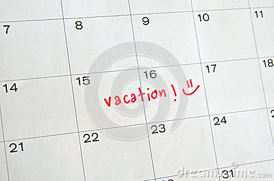 Vacation Calendar Shows Day Off Work Or Holiday Stock Illustration ...