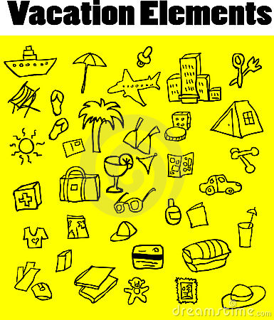 Vacation Elements vector icons set