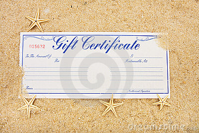 gift certificate sitting on a beach with starfish, vacation gift ...