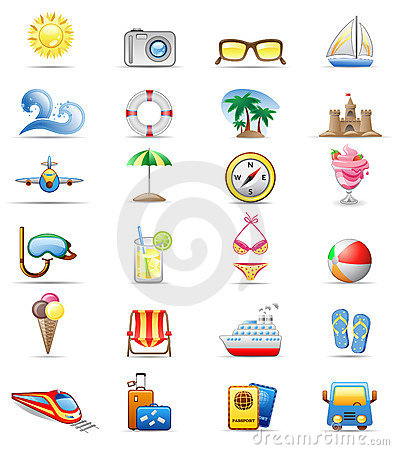 Vacation icon set.