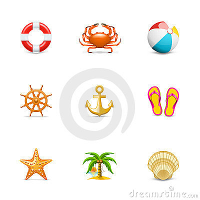 Free Vacation Icons Royalty Free Stock Image - 24085906