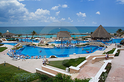 Vacation resort pool area