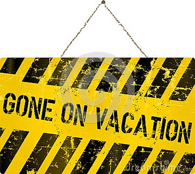 On Vacation Sign Stock Vector Image 50775549