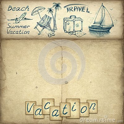 Vacation text and illustrations