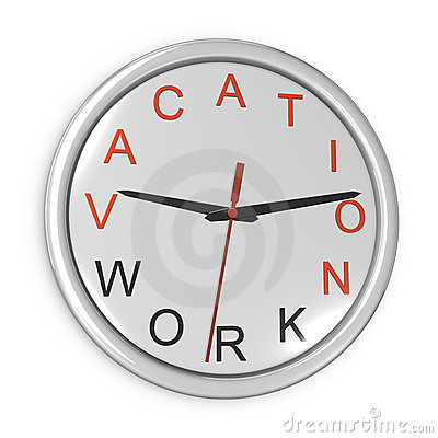 Vacation time concept. Wall clock isolated on the