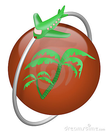 Vacation tropical island travel button airplane