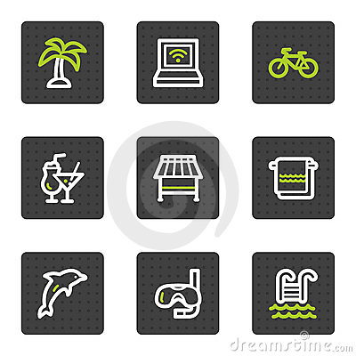 Vacation web icons, grey square buttons series