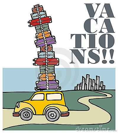 Vacations: a car running away from the city.