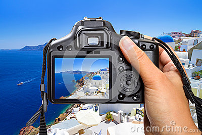 Vacations on Santorini island with the camera