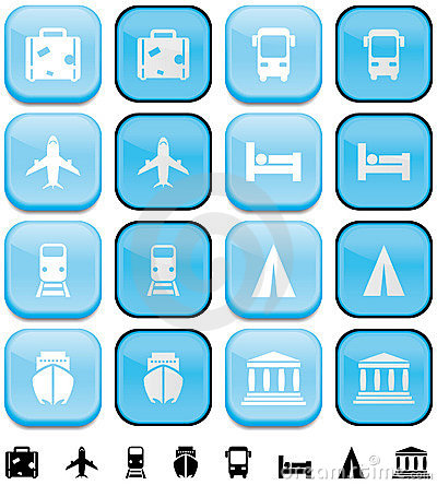 Vacations and travel buttons with pushed effect