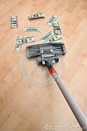 Vacuum cleaner and money