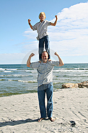 Vader en Zoon op het Strand