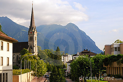 Vaduz church, downtown and Alps, Liechtenstein