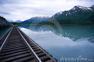 Vagt Lake Alaska Outback Railroad Tracks Bridge