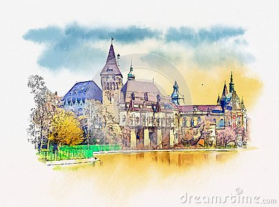 Vajdahunyad castle view from lakeside. Budapest, Hungary. Watercolor sketch Stock Photo