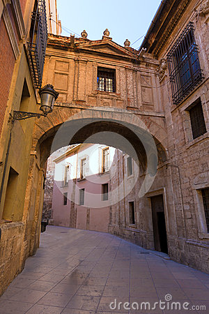 Valencia Cathedral Arch Barchilla street at Spain