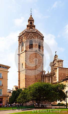 Valencia Cathedral and Micalet tower. Valencia, Spain Editorial Photo