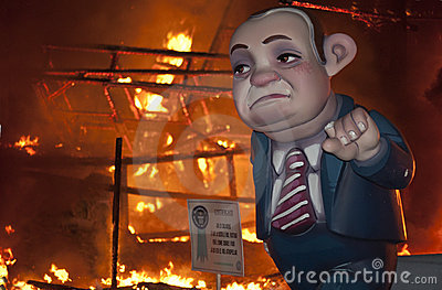 Valencia Fallas, burning huge figures. Editorial Photography
