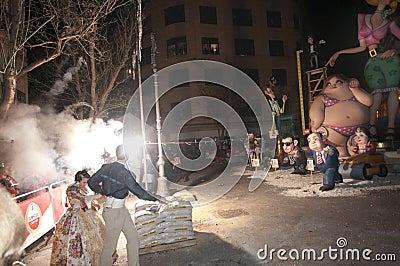 Valencia Fallas, burning huge figures. Editorial Photo