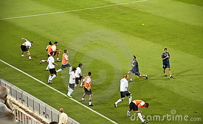 Valencia players warming up Editorial Image