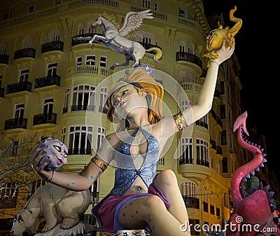 Valencia in Fallas Editorial Photo