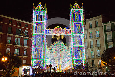 Valencia in Fallas, lightning Editorial Photography