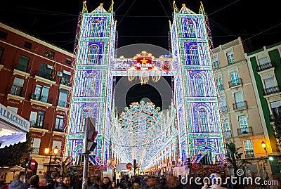Valencia in Fallas, lightning Editorial Photography