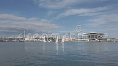 The harbor of Valencia, Spain. stock footage