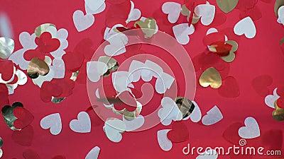 Valentijnsdag hartvormig papier decor confetti valt langzamerhand in beweging stock footage